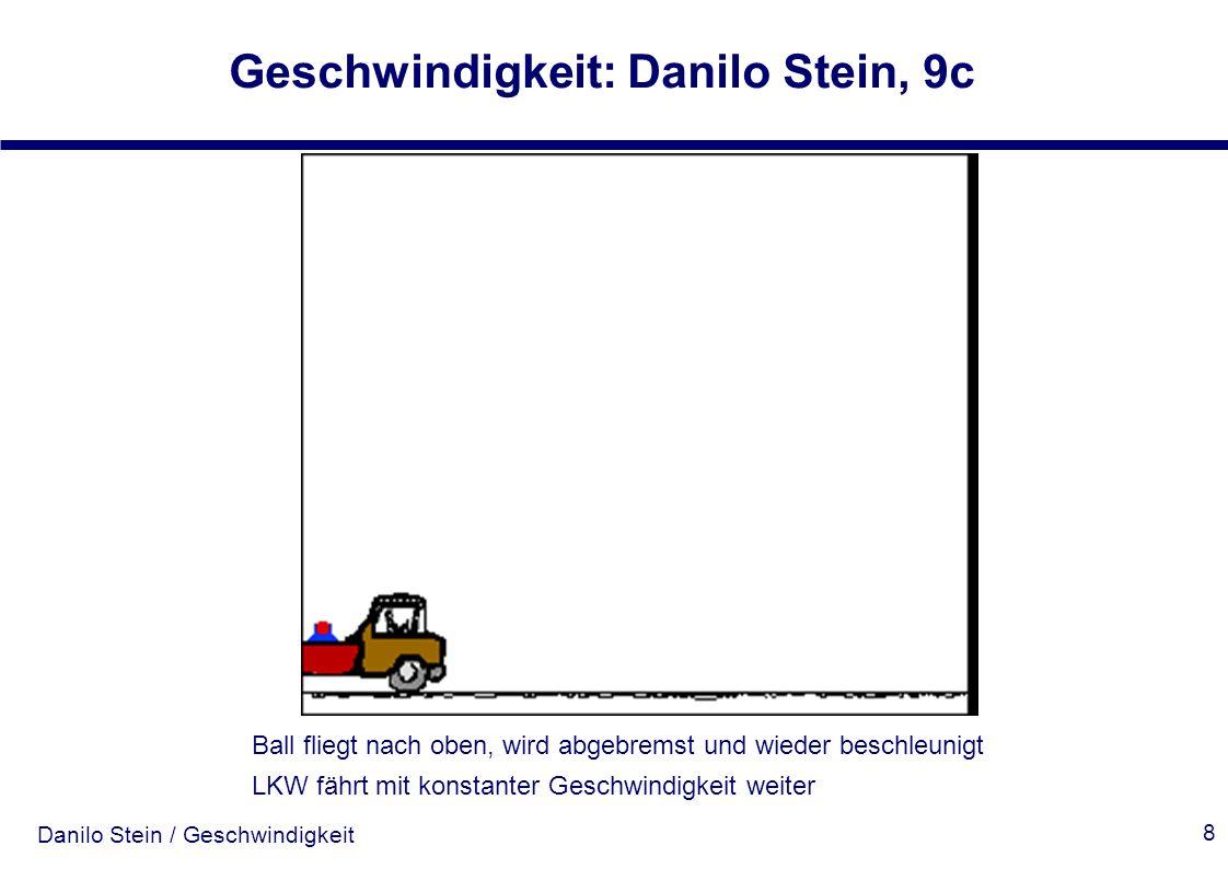 Danilo Stein / Geschwindigkeit Geschwindigkeit: Danilo Stein, 9c 8 Ball fliegt nach oben, wird abgebremst und wieder beschleunigt LKW fährt mit konsta