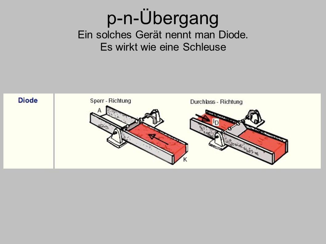 p-n-Übergang Ein solches Gerät nennt man Diode. Es wirkt wie eine Schleuse
