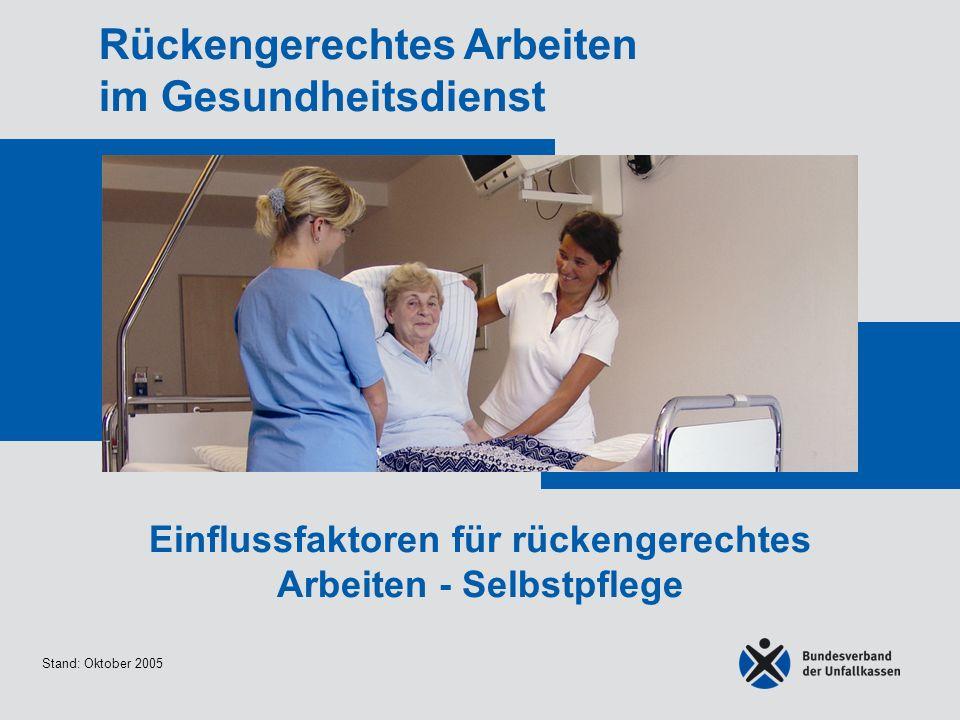 Stand: Oktober 2005 Rückengerechtes Arbeiten im Gesundheitsdienst Einflussfaktoren für rückengerechtes Arbeiten - Selbstpflege
