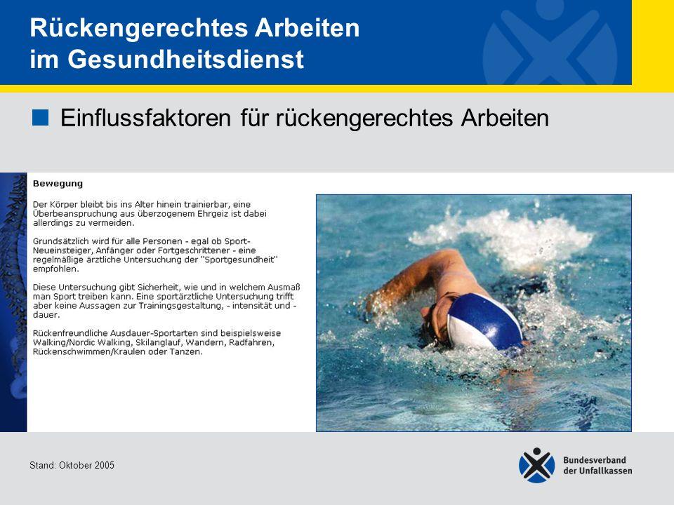 Einflussfaktoren für rückengerechtes Arbeiten Bewegung 2/2 Stand: Oktober 2005 Rückengerechtes Arbeiten im Gesundheitsdienst Einflussfaktoren für rück