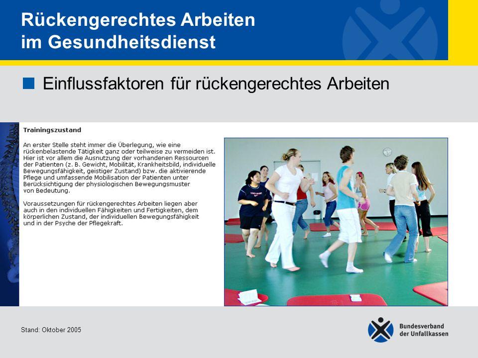 Einflussfaktoren für rückengerechtes Arbeiten Trainingszustand 1/2 Stand: Oktober 2005 Rückengerechtes Arbeiten im Gesundheitsdienst Einflussfaktoren
