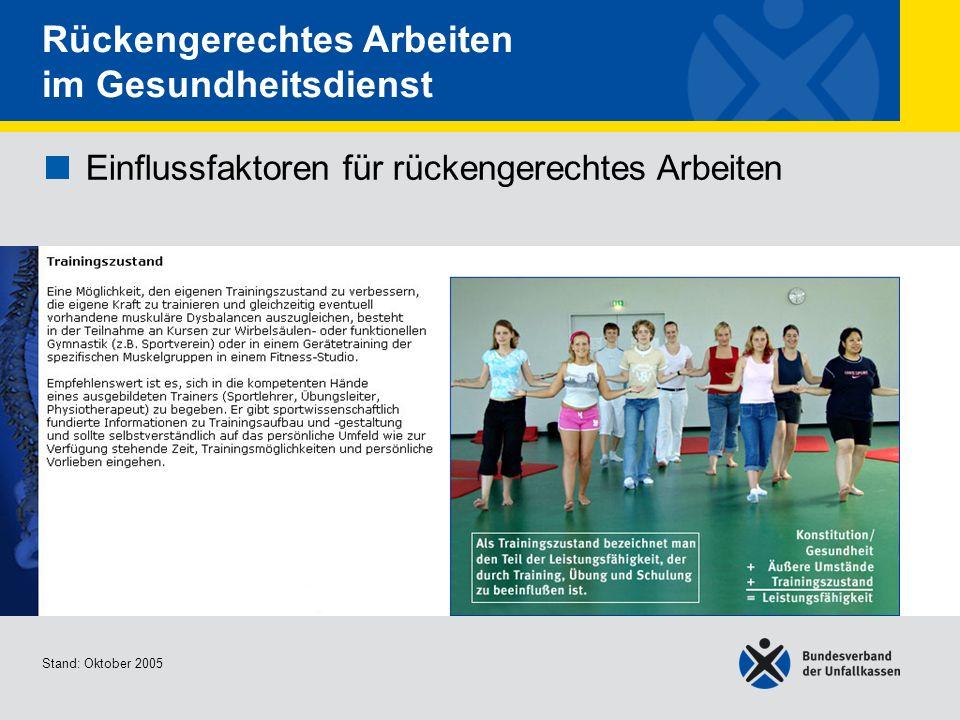 Einflussfaktoren für rückengerechtes Arbeiten Trainingszustand 2/2 Stand: Oktober 2005 Rückengerechtes Arbeiten im Gesundheitsdienst Einflussfaktoren