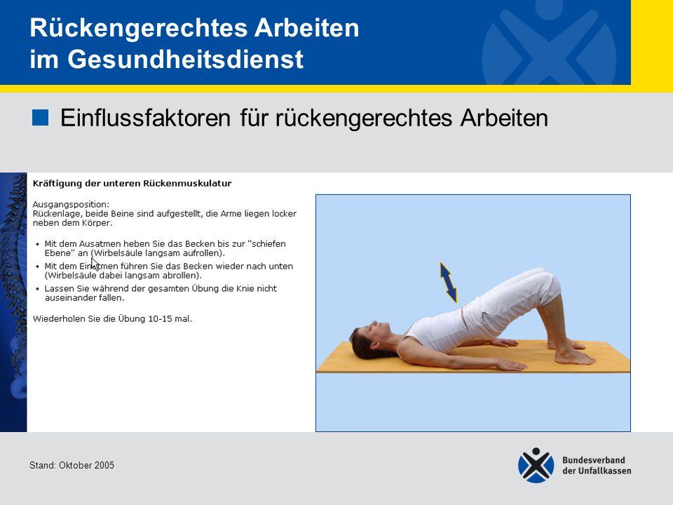 Einflussfaktoren für rückengerechtes Arbeiten Kräftigung der unteren Rückenmuskulatur Stand: Oktober 2005 Rückengerechtes Arbeiten im Gesundheitsdiens