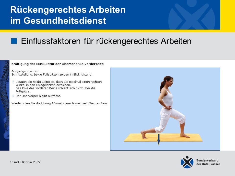 Einflussfaktoren für rückengerechtes Arbeiten Kräftigung der Muskulatur der Oberschenkelvord erseite Stand: Oktober 2005 Rückengerechtes Arbeiten im G