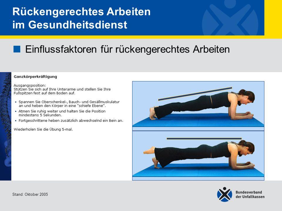 Einflussfaktoren für rückengerechtes Arbeiten Ganzkörperkräftigu ng 1/2 Stand: Oktober 2005 Rückengerechtes Arbeiten im Gesundheitsdienst Einflussfakt