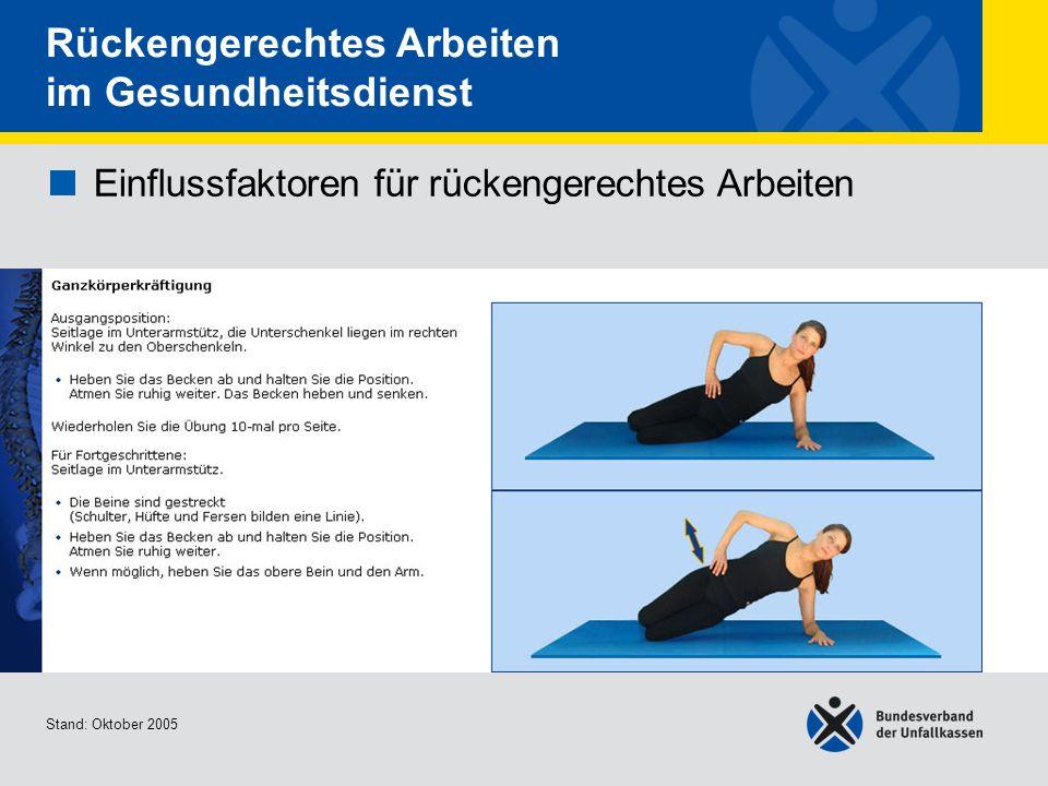Einflussfaktoren für rückengerechtes Arbeiten Ganzkörperkräftigu ng 2/2 Stand: Oktober 2005 Rückengerechtes Arbeiten im Gesundheitsdienst Einflussfakt