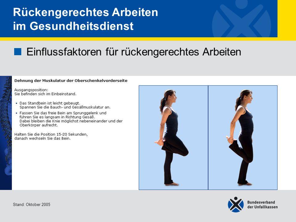 Einflussfaktoren für rückengerechtes Arbeiten Dehnung der Muskulatur der Oberschenkelvord erseite Stand: Oktober 2005 Rückengerechtes Arbeiten im Gesu