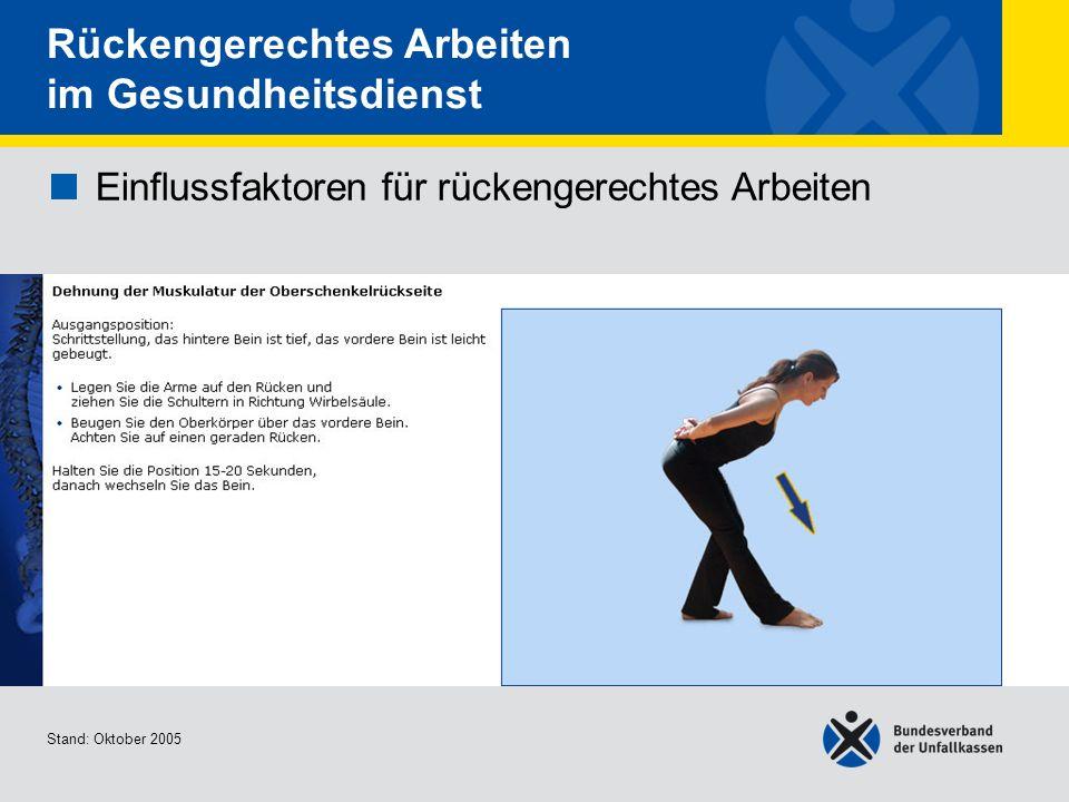 Einflussfaktoren für rückengerechtes Arbeiten Dehnung der Muskulatur der Oberschenkelrück seite Stand: Oktober 2005 Rückengerechtes Arbeiten im Gesund