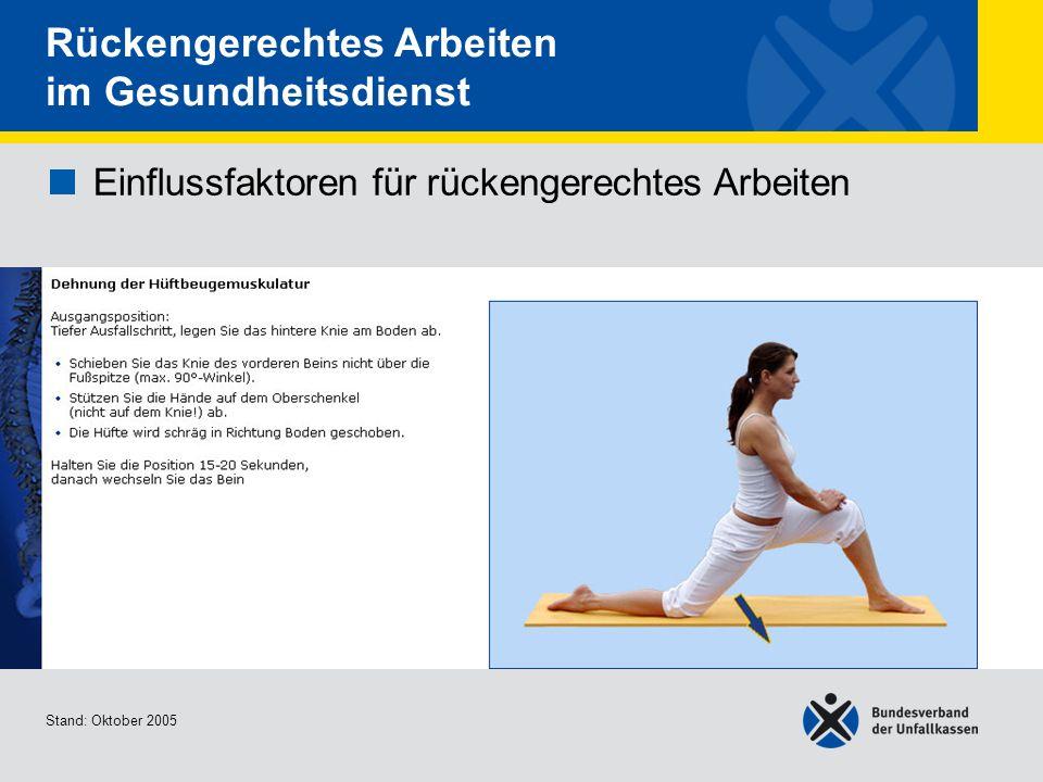Einflussfaktoren für rückengerechtes Arbeiten Dehnung der Hüftbeugemuskulat ur Stand: Oktober 2005 Rückengerechtes Arbeiten im Gesundheitsdienst Einfl