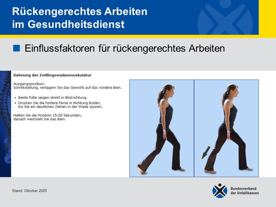 Einflussfaktoren für rückengerechtes Arbeiten Dehnung der Zwillingswadenmu skulatur Stand: Oktober 2005 Rückengerechtes Arbeiten im Gesundheitsdienst
