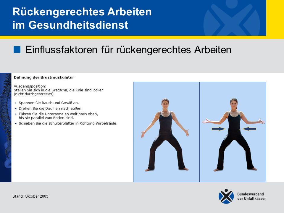 Einflussfaktoren für rückengerechtes Arbeiten Dehnung der Brustmuskulatur Stand: Oktober 2005 Rückengerechtes Arbeiten im Gesundheitsdienst Einflussfa