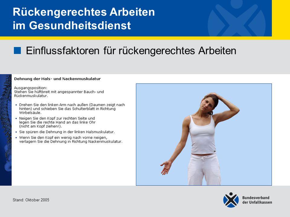 Einflussfaktoren für rückengerechtes Arbeiten Dehnung der Hals- und Nackenmuskulatur Stand: Oktober 2005 Rückengerechtes Arbeiten im Gesundheitsdienst