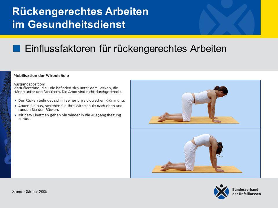 Einflussfaktoren für rückengerechtes Arbeiten Mobilisation der Wirbelsäule Stand: Oktober 2005 Rückengerechtes Arbeiten im Gesundheitsdienst Einflussf