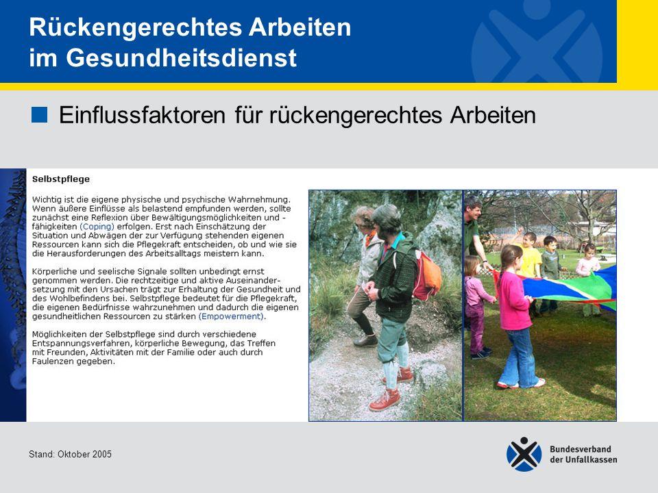 Einflussfaktoren für rückengerechtes Arbeiten Selbstpflege Stand: Oktober 2005 Rückengerechtes Arbeiten im Gesundheitsdienst Einflussfaktoren für rück