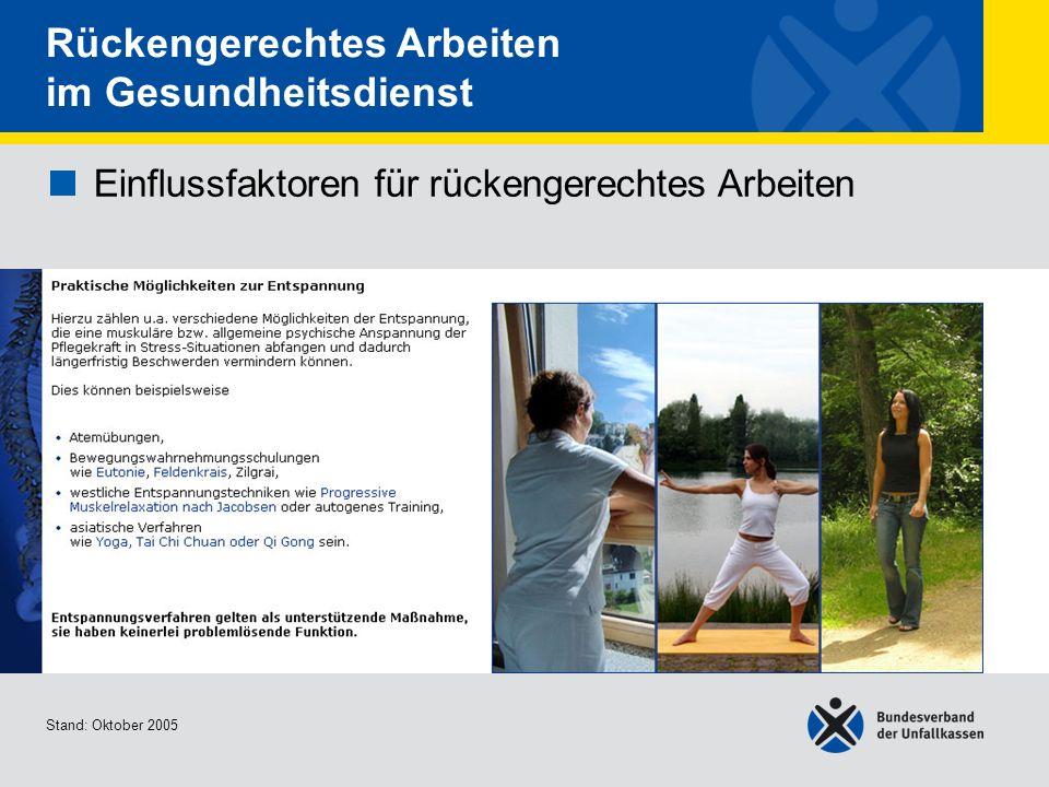 Einflussfaktoren für rückengerechtes Arbeiten Praktische Möglichkeiten zur Entspannung Stand: Oktober 2005 Rückengerechtes Arbeiten im Gesundheitsdien