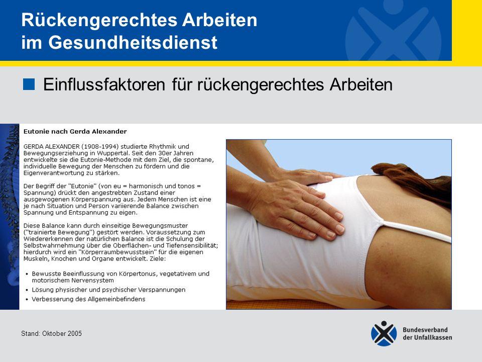 Einflussfaktoren für rückengerechtes Arbeiten Kräftigung der unteren Rückenmuskulatur Stand: Oktober 2005 Rückengerechtes Arbeiten im Gesundheitsdienst Einflussfaktoren für rückengerechtes Arbeiten