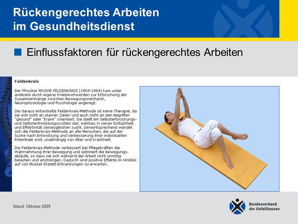 Einflussfaktoren für rückengerechtes Arbeiten Entspannungshaltu ng Stand: Oktober 2005 Rückengerechtes Arbeiten im Gesundheitsdienst Einflussfaktoren für rückengerechtes Arbeiten