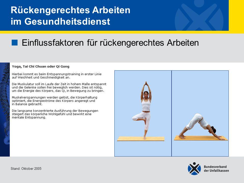 Einflussfaktoren für rückengerechtes Arbeiten Yoga, Tai Chi Chuan oder Qi Gong Stand: Oktober 2005 Rückengerechtes Arbeiten im Gesundheitsdienst Einfl