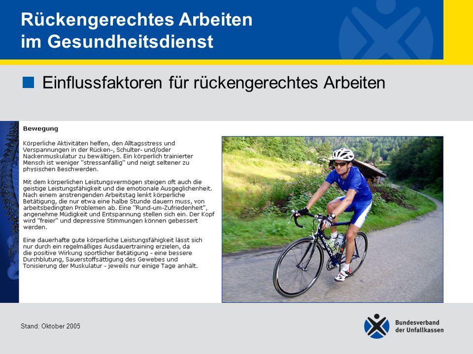 Einflussfaktoren für rückengerechtes Arbeiten Bewegung 2/2 Stand: Oktober 2005 Rückengerechtes Arbeiten im Gesundheitsdienst Einflussfaktoren für rückengerechtes Arbeiten