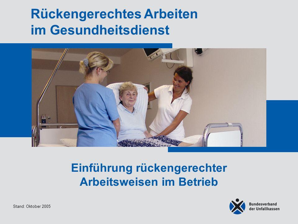 Stand: Oktober 2005 Rückengerechtes Arbeiten im Gesundheitsdienst Einführung rückengerechter Arbeitsweisen im Betrieb