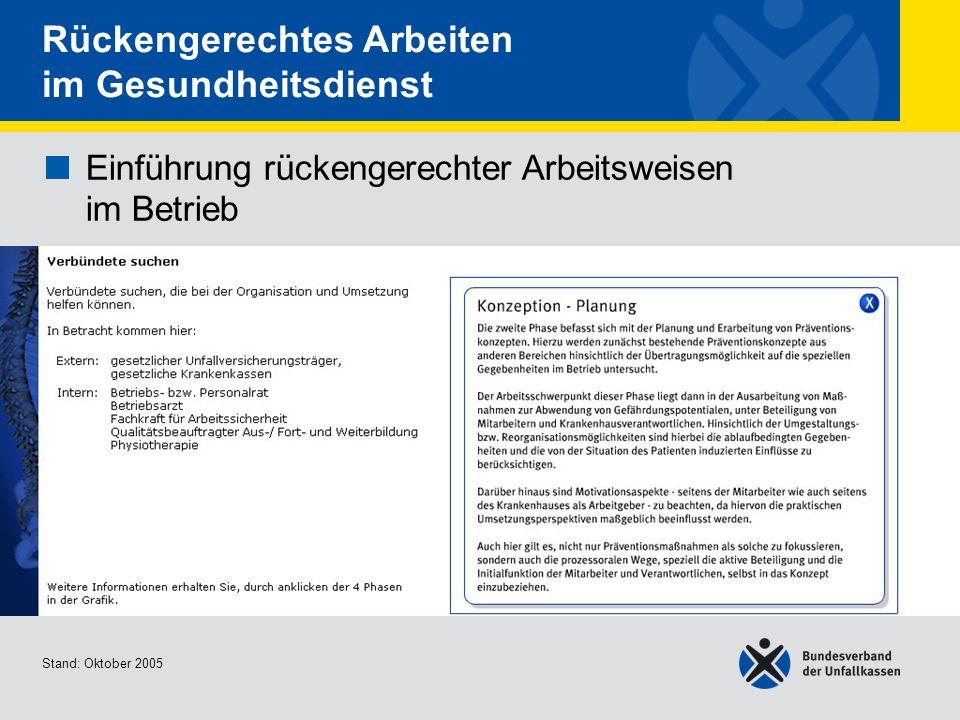 Einführung rückengerechter Arbeitsweisen im Betrieb Verbündete suchen Stand: Oktober 2005 Rückengerechtes Arbeiten im Gesundheitsdienst Einführung rückengerechter Arbeitsweisen im Betrieb