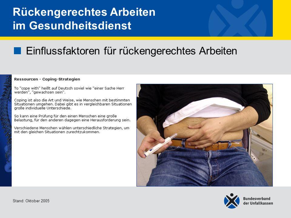 Einflussfaktoren für rückengerechtes Arbeiten Ressourcen - Empowerment Stand: Oktober 2005 Rückengerechtes Arbeiten im Gesundheitsdienst Einflussfaktoren für rückengerechtes Arbeiten