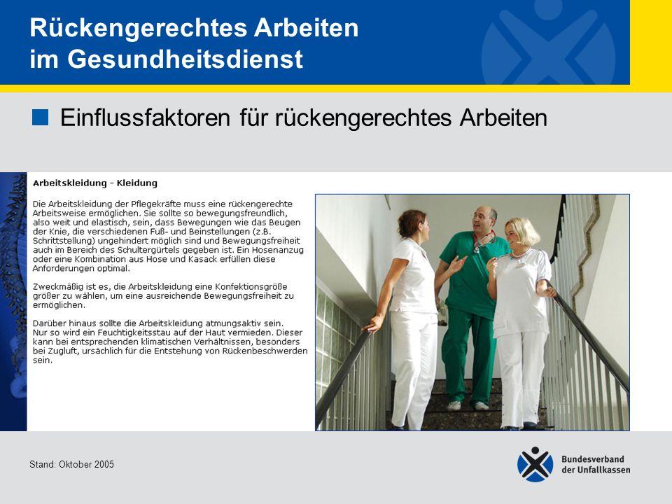 Einflussfaktoren für rückengerechtes Arbeiten Arbeitskleidung - Kleidung 2/2 Stand: Oktober 2005 Rückengerechtes Arbeiten im Gesundheitsdienst Einflussfaktoren für rückengerechtes Arbeiten