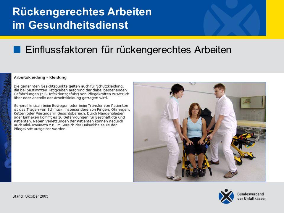 Einflussfaktoren für rückengerechtes Arbeiten Arbeitskleidung - Schuhe 1/3 Stand: Oktober 2005 Rückengerechtes Arbeiten im Gesundheitsdienst Einflussfaktoren für rückengerechtes Arbeiten