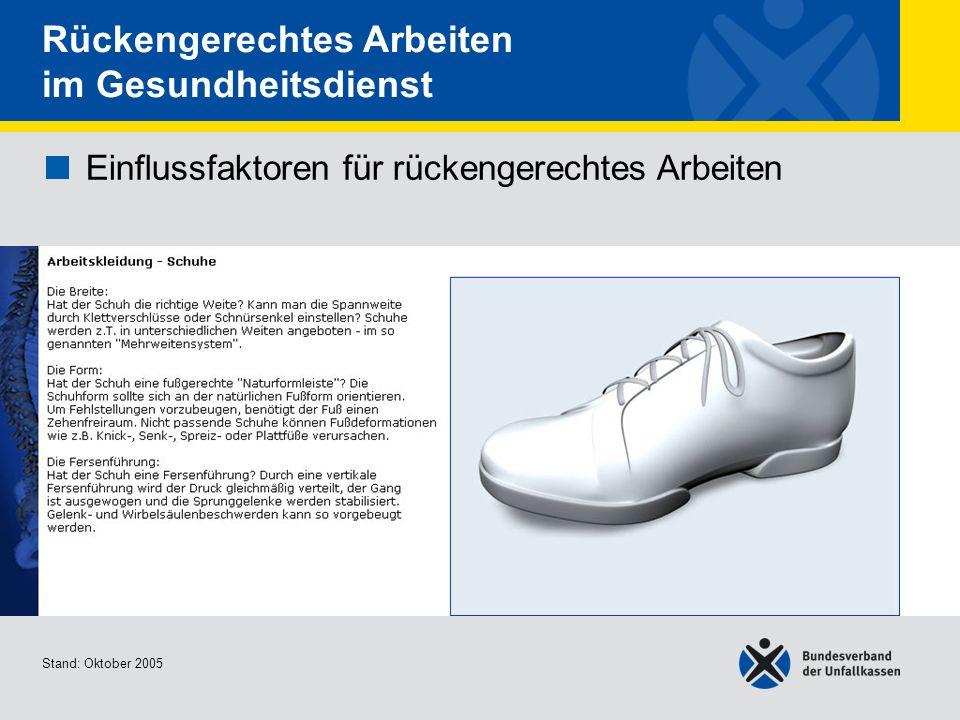 Einflussfaktoren für rückengerechtes Arbeiten Arbeitskleidung - Schuhe 3/3 Stand: Oktober 2005 Rückengerechtes Arbeiten im Gesundheitsdienst Einflussfaktoren für rückengerechtes Arbeiten