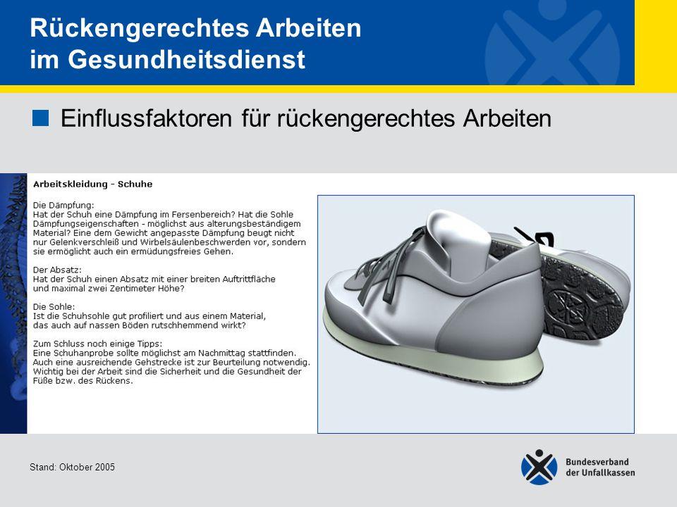 Einflussfaktoren für rückengerechtes Arbeiten Räumliche Gegebenheiten Stand: Oktober 2005 Rückengerechtes Arbeiten im Gesundheitsdienst Einflussfaktoren für rückengerechtes Arbeiten