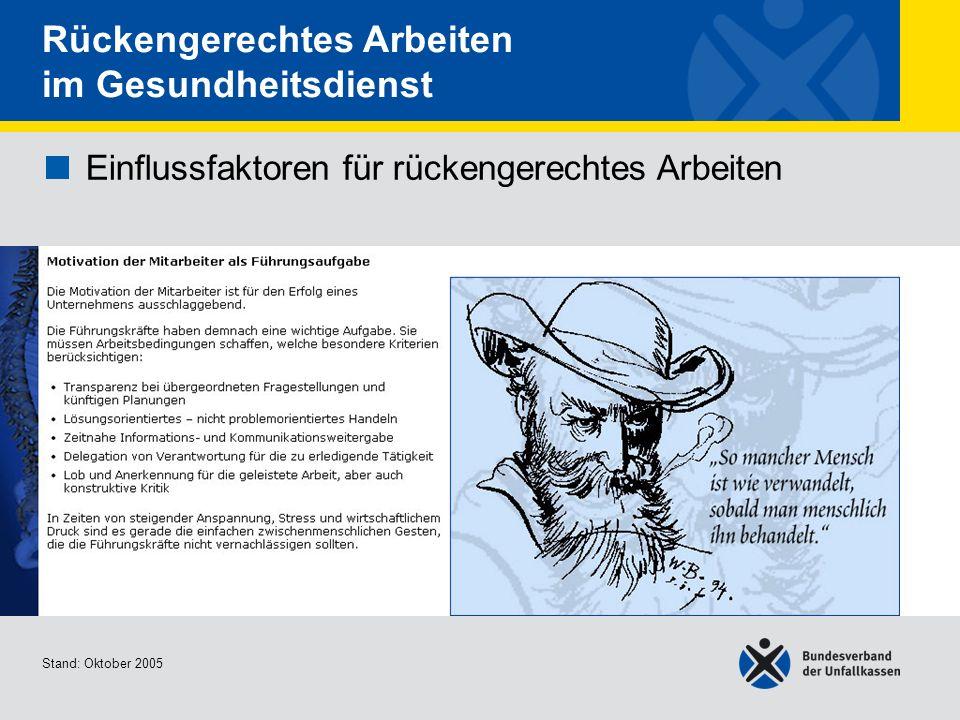 Einflussfaktoren für rückengerechtes Arbeiten Arbeitsorganisation 1/2 Stand: Oktober 2005 Rückengerechtes Arbeiten im Gesundheitsdienst Einflussfaktoren für rückengerechtes Arbeiten