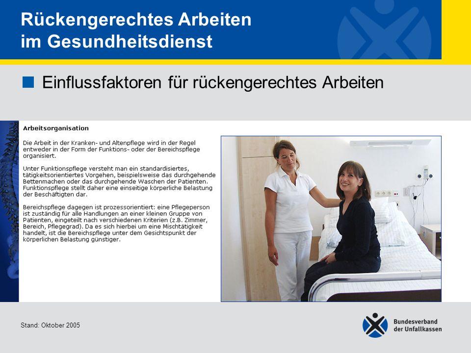 Einflussfaktoren für rückengerechtes Arbeiten Arbeitsorganisation 2/2 Stand: Oktober 2005 Rückengerechtes Arbeiten im Gesundheitsdienst Einflussfaktoren für rückengerechtes Arbeiten