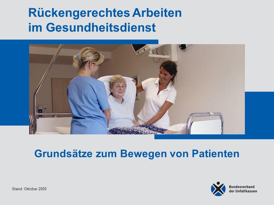 Stand: Oktober 2005 Rückengerechtes Arbeiten im Gesundheitsdienst Grundsätze zum Bewegen von Patienten