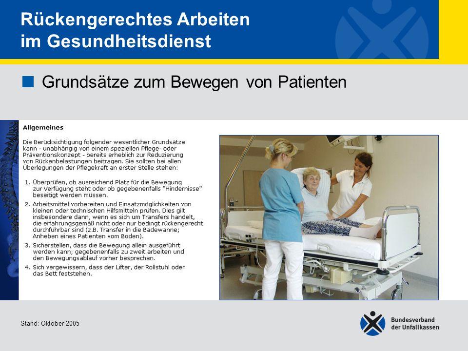 Grundsätze zum Bewegen von Patienten Allgemeines 2/2 Stand: Oktober 2005 Rückengerechtes Arbeiten im Gesundheitsdienst Grundsätze zum Bewegen von Patienten