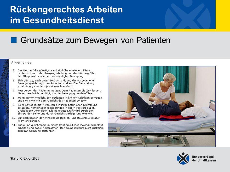 Grundsätze zum Bewegen von Patienten Allgemeines 2/2 Stand: Oktober 2005 Rückengerechtes Arbeiten im Gesundheitsdienst Grundsätze zum Bewegen von Pati