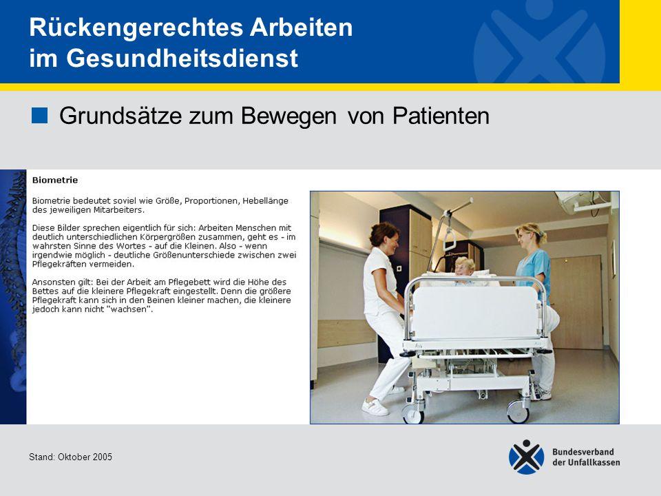 Grundsätze zum Bewegen von Patienten Biometrie Stand: Oktober 2005 Rückengerechtes Arbeiten im Gesundheitsdienst Grundsätze zum Bewegen von Patienten