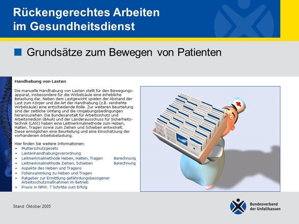 Grundsätze zum Bewegen von Patienten Handhabung von Lasten Stand: Oktober 2005 Rückengerechtes Arbeiten im Gesundheitsdienst Grundsätze zum Bewegen vo