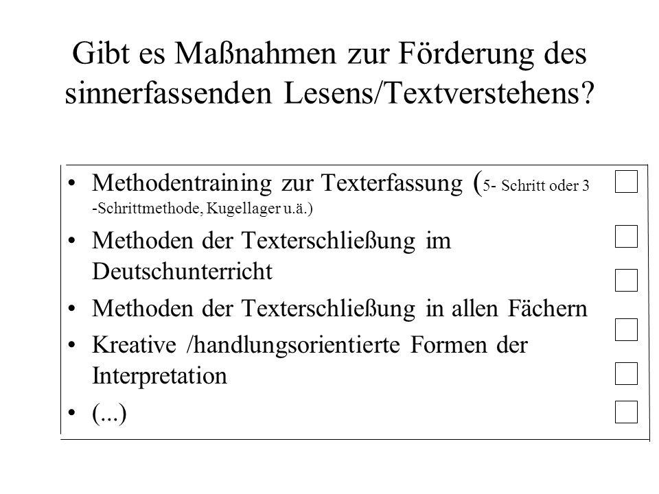 Methodentraining zur Texterfassung ( 5- Schritt oder 3 -Schrittmethode, Kugellager u.ä.) Methoden der Texterschließung im Deutschunterricht Methoden d
