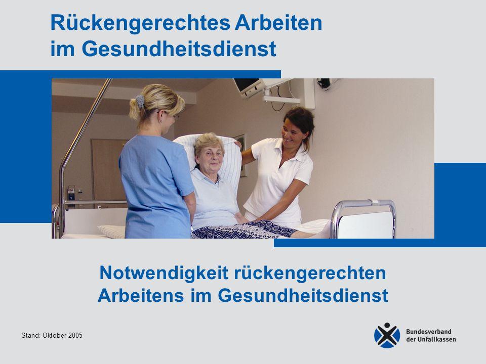 Stand: Oktober 2005 Rückengerechtes Arbeiten im Gesundheitsdienst Notwendigkeit rückengerechten Arbeitens im Gesundheitsdienst