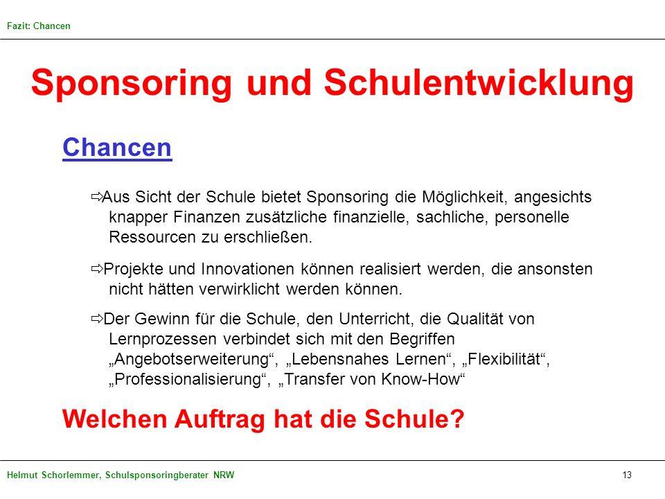 Helmut Schorlemmer, Schulsponsoringberater NRW Sponsoring und Schulentwicklung Chancen Aus Sicht der Schule bietet Sponsoring die Möglichkeit, angesic