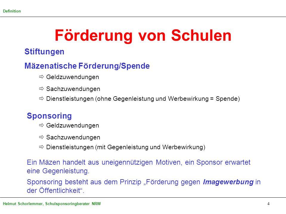 Helmut Schorlemmer, Schulsponsoringberater NRW4 Definition Förderung von Schulen Stiftungen Mäzenatische Förderung/Spende Geldzuwendungen Sachzuwendun