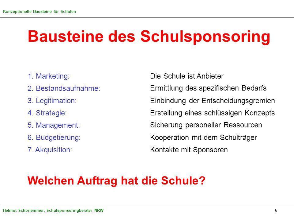 Helmut Schorlemmer, Schulsponsoringberater NRW Bausteine des Schulsponsoring 1. Marketing: 2. Bestandsaufnahme: 3. Legitimation: 4. Strategie: 5. Mana