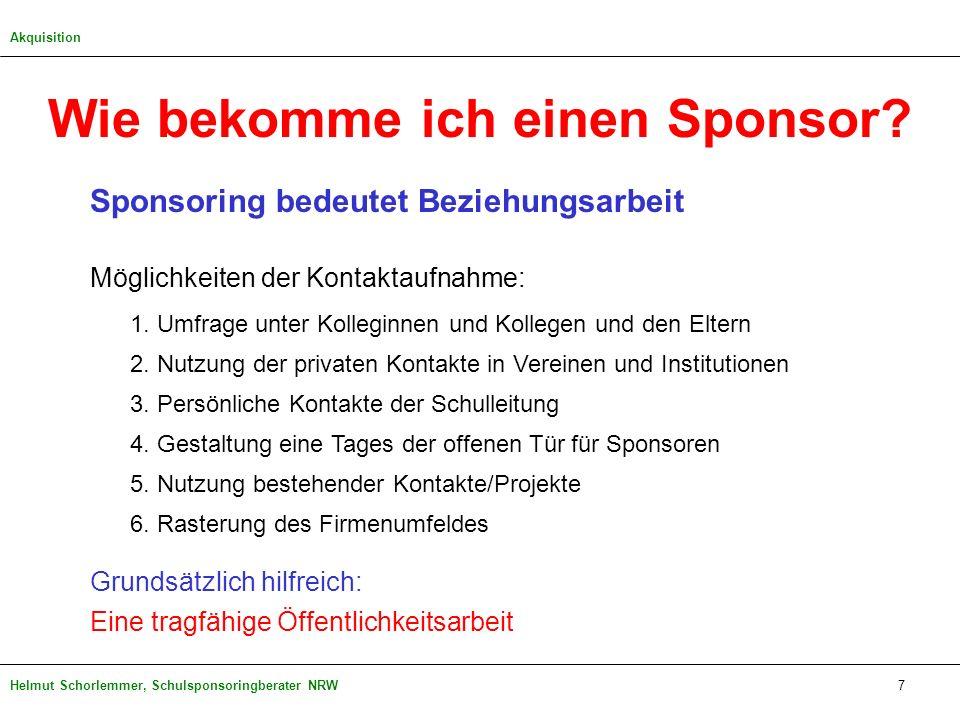 Helmut Schorlemmer, Schulsponsoringberater NRW Wie bekomme ich einen Sponsor? Sponsoring bedeutet Beziehungsarbeit Möglichkeiten der Kontaktaufnahme: