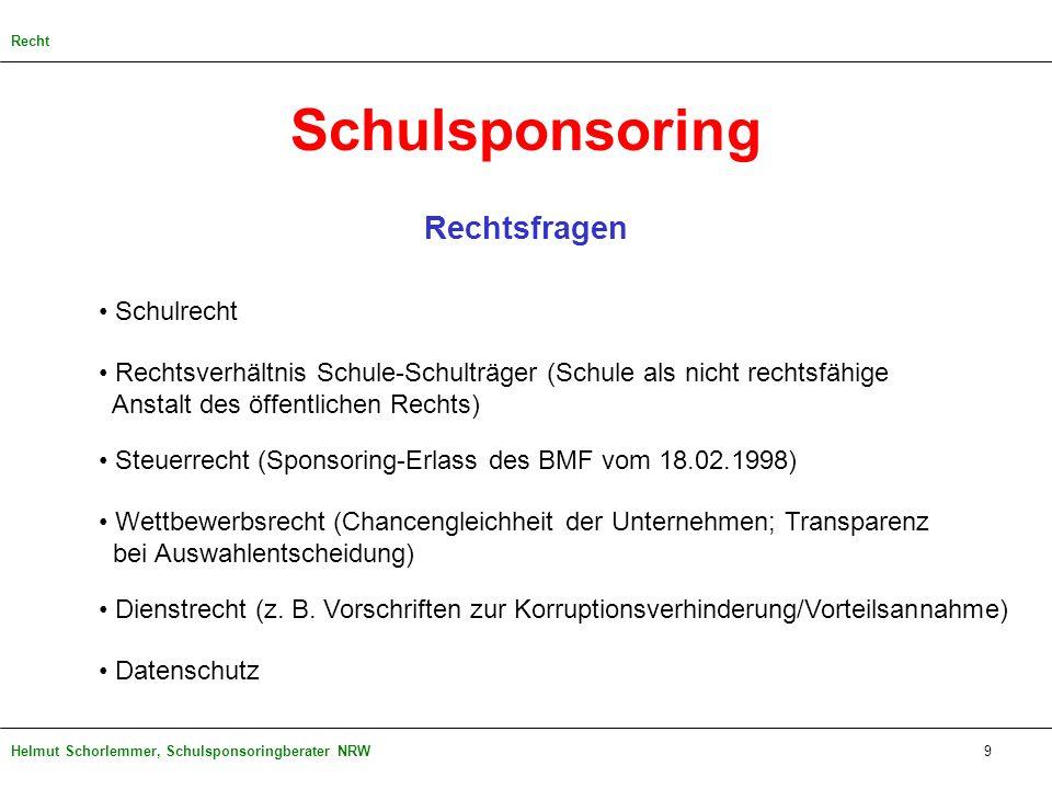 Helmut Schorlemmer, Schulsponsoringberater NRW Rechtsfragen Schulrecht Rechtsverhältnis Schule-Schulträger (Schule als nicht rechtsfähige Anstalt des