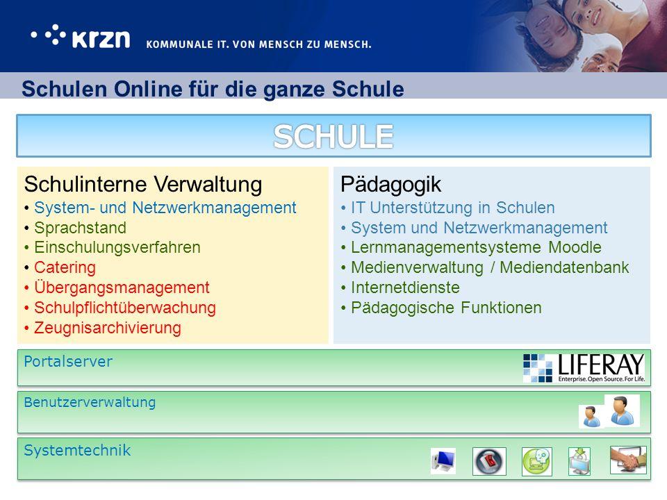 Schulen Online für die ganze Schule Portalserver Systemtechnik Benutzerverwaltung Schulinterne Verwaltung System- und Netzwerkmanagement Sprachstand E