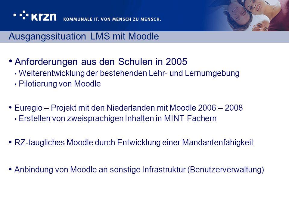 Ausgangssituation LMS mit Moodle Anforderungen aus den Schulen in 2005 Weiterentwicklung der bestehenden Lehr- und Lernumgebung Pilotierung von Moodle