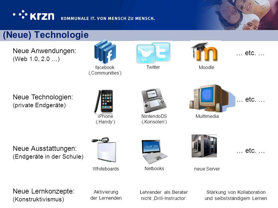 (Neue) Technologie Neue Lernkonzepte: (Konstruktivismus) … etc. … Neue Anwendungen: (Web 1.0, 2.0 …) Neue Technologien: (private Endgeräte) Neue Ausst