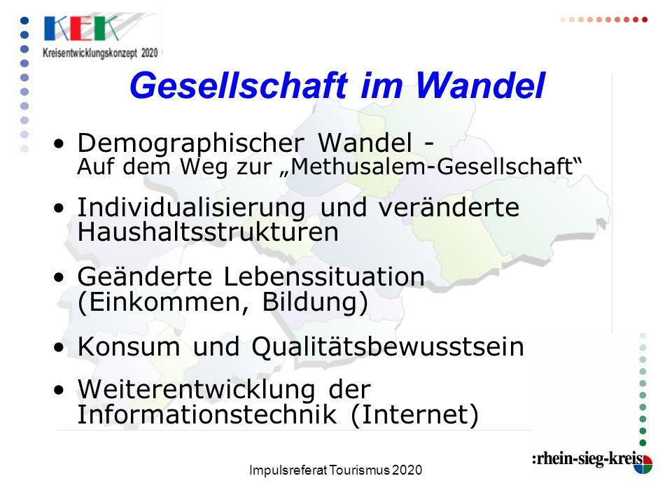 Impulsreferat Tourismus 2020 Gesellschaft im Wandel Demographischer Wandel - Auf dem Weg zur Methusalem-Gesellschaft Individualisierung und veränderte