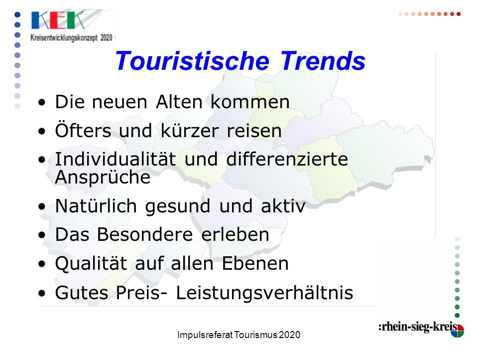 Impulsreferat Tourismus 2020 Touristische Trends Die neuen Alten kommen Öfters und kürzer reisen Individualität und differenzierte Ansprüche Natürlich