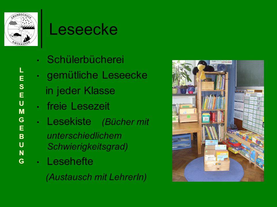 Leseecke Schülerbücherei gemütliche Leseecke in jeder Klasse freie Lesezeit Lesekiste (Bücher mit unterschiedlichem Schwierigkeitsgrad) Lesehefte (Aus